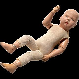 Antique Wood Schoenhut Pouty Boy Doll in Union Suit