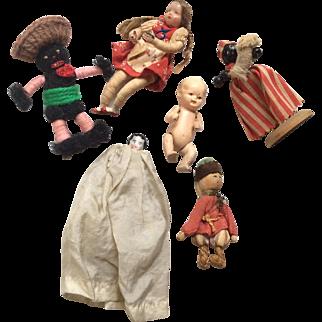 6  Vintage Miniature Doll Black African American German Japan Frozen Charlotte Russian
