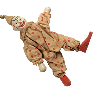 Fun All Wood Jointed Schoenhut All Original Antique Humpty Dumpty Circus Clown Doll