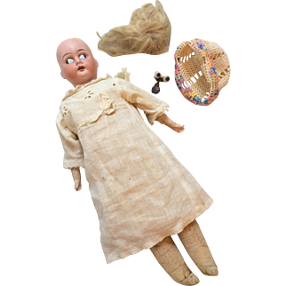 Antique German Bisque Head Doll Parts Body Eyes