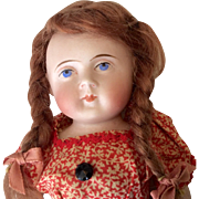 "Huge Earty 8.25"" Antique German All Bisque Doll Stiff Hip Round Face TLC"