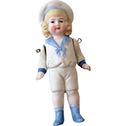 All Bisque Sailor Boy Molded Clothes German Antique Hertwig Doll