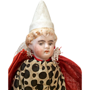 Antique German Bisque Head Wood Body Clown Doll Molded Pointy Hat