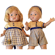 Pair of Twin Vintage Vogue Ginny Family Toddles Doll Origianl Clothes