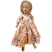 Vintage Madame Alexander Nice Print Dress on Compo Composition Little Betty Doll