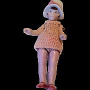 All Bisque Flapper Doll Molded Cloche Bonnet Crochet Dress German Miniature