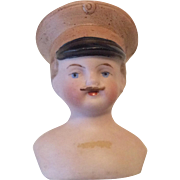 Bisque Military Soldier Man Molded Hat Mustache Dollhouse Doll Head