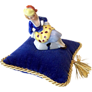 Tiny German Doll Size Half Doll on Pillow Pin Cushion