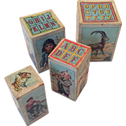 Toy ABC Blocks Fun Antique Doll Accessory or Display Wood Paper Litho Pictures