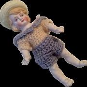 Antique German All Bisque Doll Molded Plumed Bonnet Hat Crochet Outfit