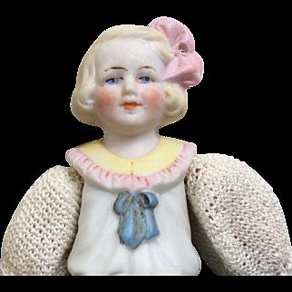 German Bisque Miniature Dollhouse Size Doll All Bisque Head Torso Crochet Clothes
