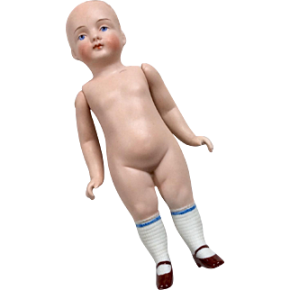 Early Bold Head Stiff Hip German All Bisque Doll Molded Stockings Shoes