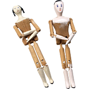 2 All Wood Peg Jointed Doll Artist Doll