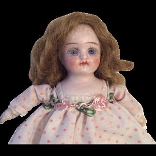 German Bisque Glass Eye Tiny Dollhouse Size Doll