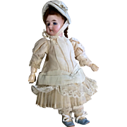 Beautiful Dress Bonnet Socks Shoes Ccomplete Outfit for Small Antique Doll