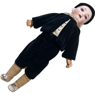 Antique German Bisque Head 395 Boy Doll Fully Jointed Body Straight Wrist