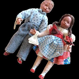 2 Vintage Dollhouse Doll Children Pair German Miniature Boy Girl