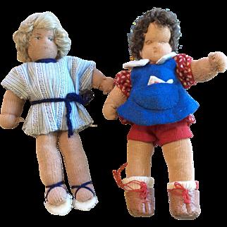 2 Cloth Stockinette All Original Dollhouse Doll Pair