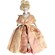 Apollo Knot Wig Parian Type Bisque Head Amazing German Miniature Dollhouse Lady Doll
