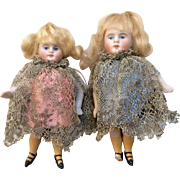 Kestner Swivel Neck All Bisque Sister Doll Pair Antique German