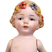 Adorable All Bisque Doll Molded Flowers in Hair Antique German