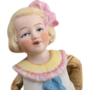 Unusual Bisque Girl Doll Moolded Hair Bow Half Doll Style