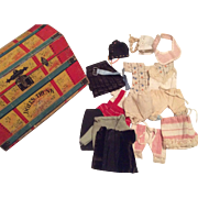 Bliss Paper Litho Doll's Trunk with Antique Small Doll Clothes
