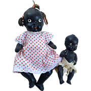 2  All Bisque Black Baby Doll Pair Vintage African American