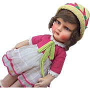 Adorable All Original German Papier Mache Cloth Doll Organdy Felt Dress Hat Shoes