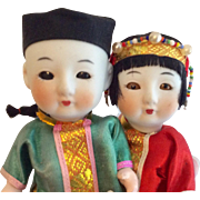 2  Vintage Bisque Asian Oriental Doll Pair Chinese All Original