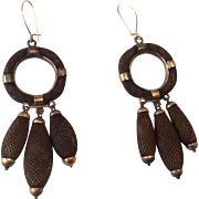 Amazing Antique Victorian Woven Hair Dangling Earrings