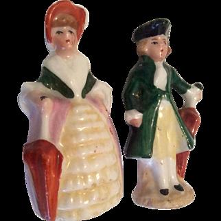 2  German Tiny Miniature Man Woman with Parasol Doll Figures