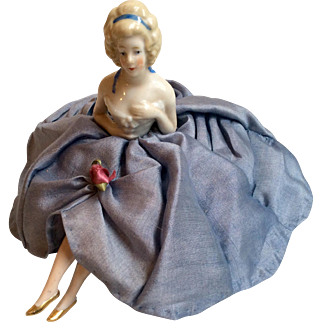 Lovely German Half Doll Pin Cushion with legs Slippers