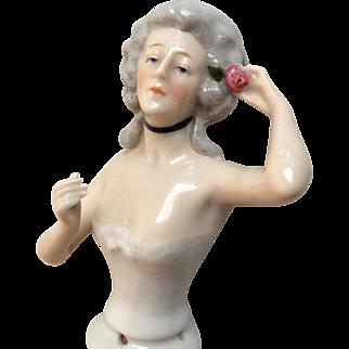Goebel Half Doll Lovely Arm Away Rose in Hair Corset Antique German