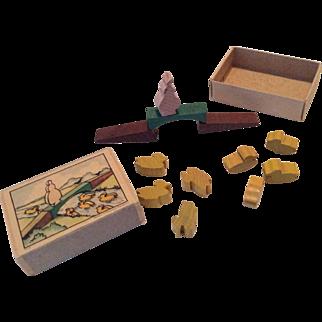 Miniature German Wood Bridge Ducks in Box for Doll or Dollhouse