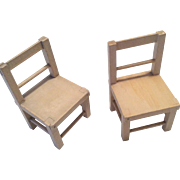 2 Wood Schnoenhut Doll Chair Set for Circus Acrobat or Clown