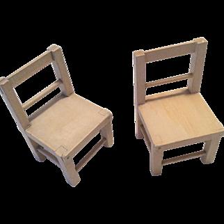 2 Wood Schnoenhut Doll Chair Set for Circus Acrobat or Clown