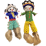 2  Vintage Native American Indian Beaded Zuni Doll Pair