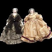 2  Antique China Dead Dollhouse Doll Pair