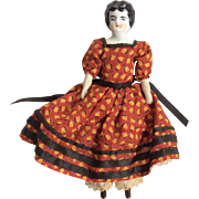 China Head Dollhouse Doll Great Outfit Print Dress Miniature Antique German
