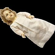 Angelic Creche Glass Eye Wax Shoulder Head Barefoot Doll Baby