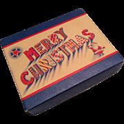 Vintage Merry Christmas Paper Box Santa Claus Doll Size