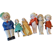 6 All Bisque  German Japan Doll Group