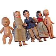 5 German All Bisque Miniature Dollhouse Doll Baby