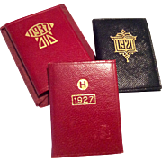 3  Miniature Leather Gold Leaf Book Calendar Doll Accessory   1921 1927 1937