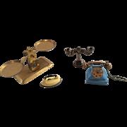 4 Dollhouse Miniature Telephone Scale Candelabra Iron Vintage Doll Shop
