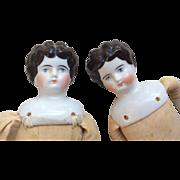 2  German Antique China Head Doll Pair