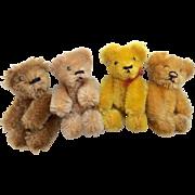 """4  German Schuco Miniature 2.75"""" Teddy Bear for Doll or Dollhouse"""