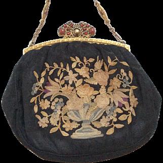 Antique Jeweled Trinity Bag Frame Petit Point Purse Original Tag