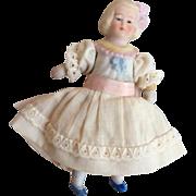 "4"" German Bisque Miniature Dollhouse Size Doll All Bisque Head Torso"